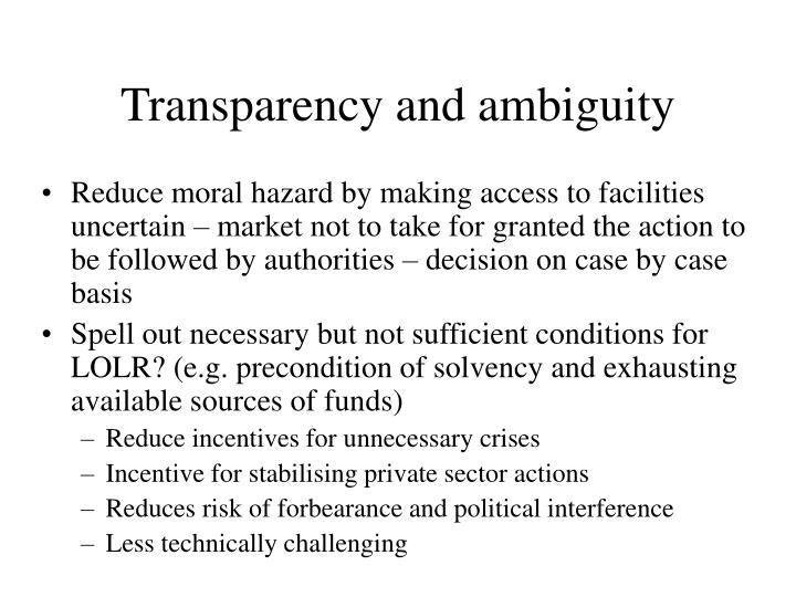 Transparency and ambiguity
