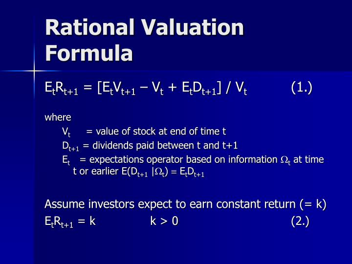 Rational Valuation Formula