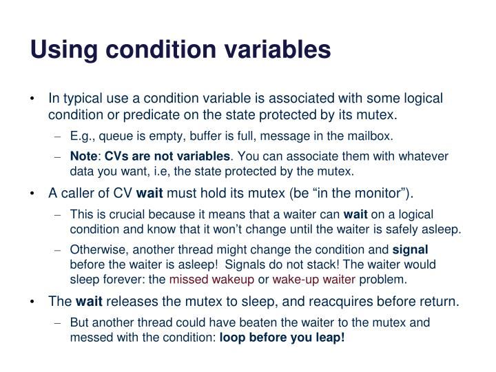 Using condition variables