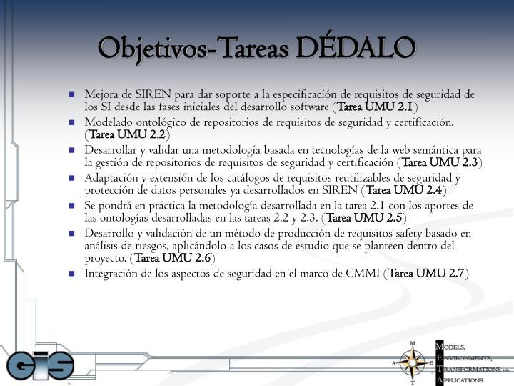 Objetivos-Tareas DÉDALO