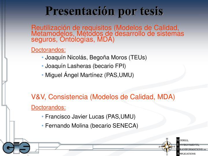 Presentación por tesis