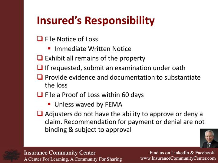 Insured's Responsibility