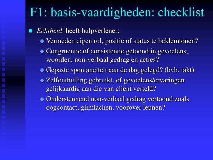 F1: basis-vaardigheden: checklist