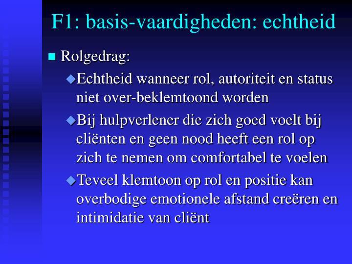 F1: basis-vaardigheden: echtheid