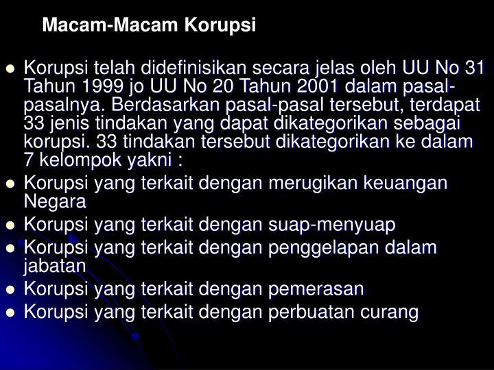 Macam-Macam Korupsi