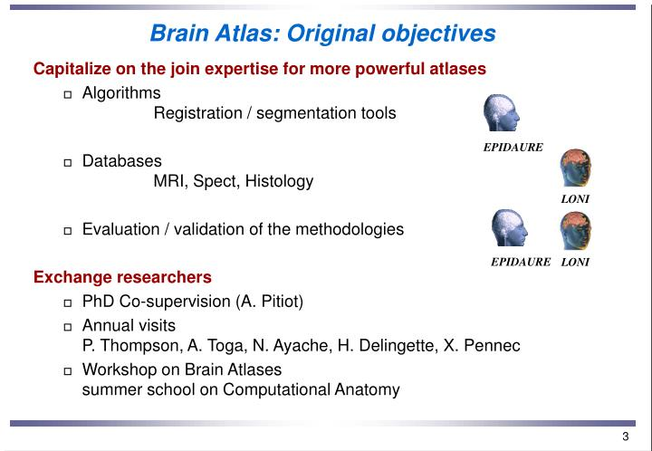 Brain atlas original objectives