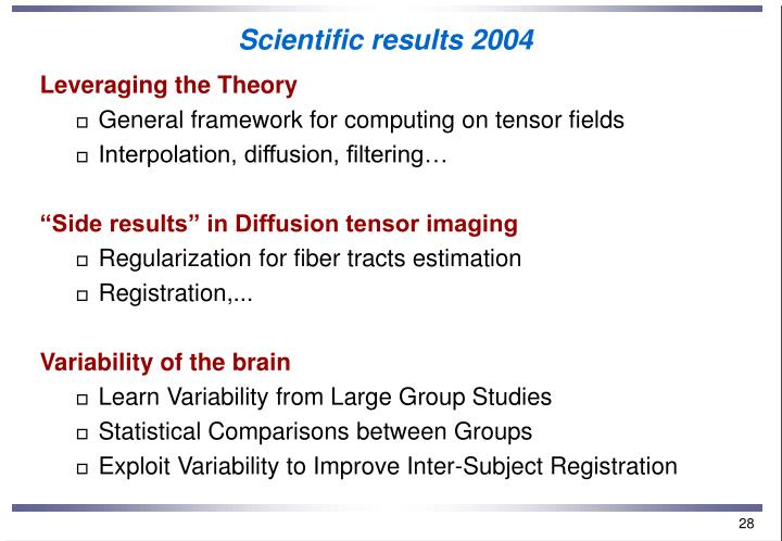 Scientific results 2004