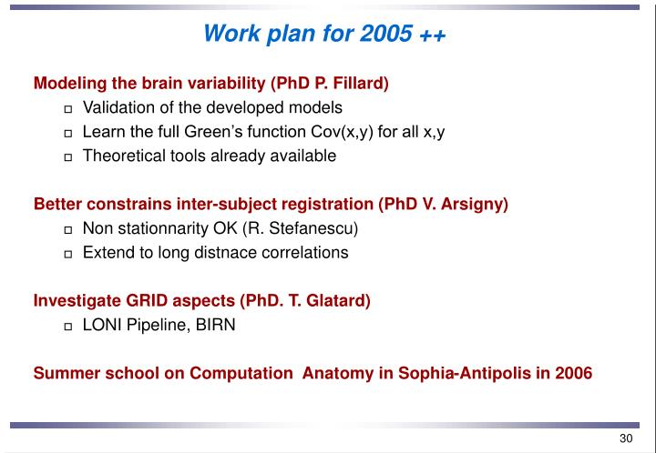 Work plan for 2005 ++