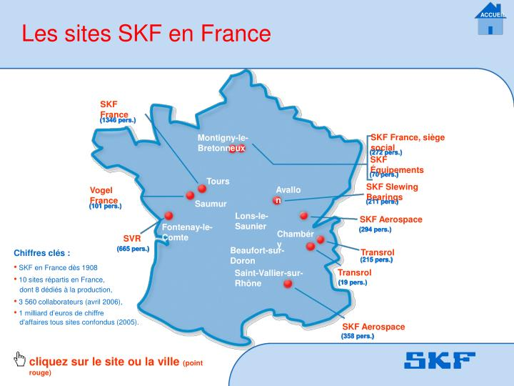 Les sites SKF en France