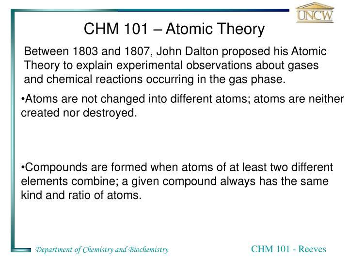 CHM 101 – Atomic Theory