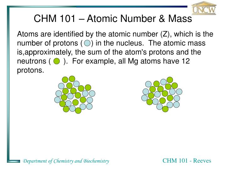 CHM 101 – Atomic Number & Mass