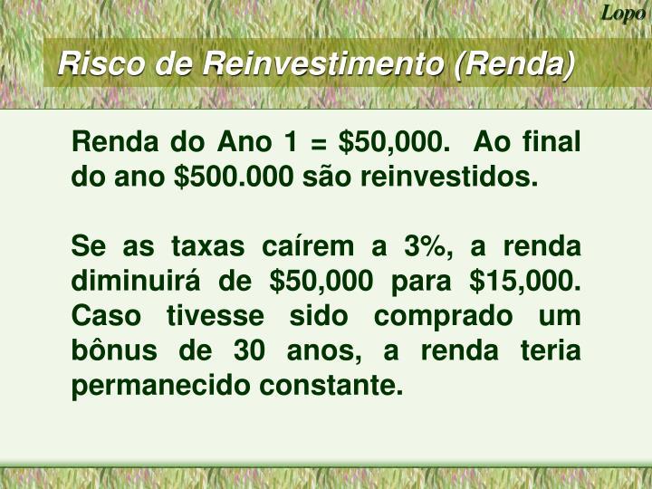 Risco de Reinvestimento (Renda)