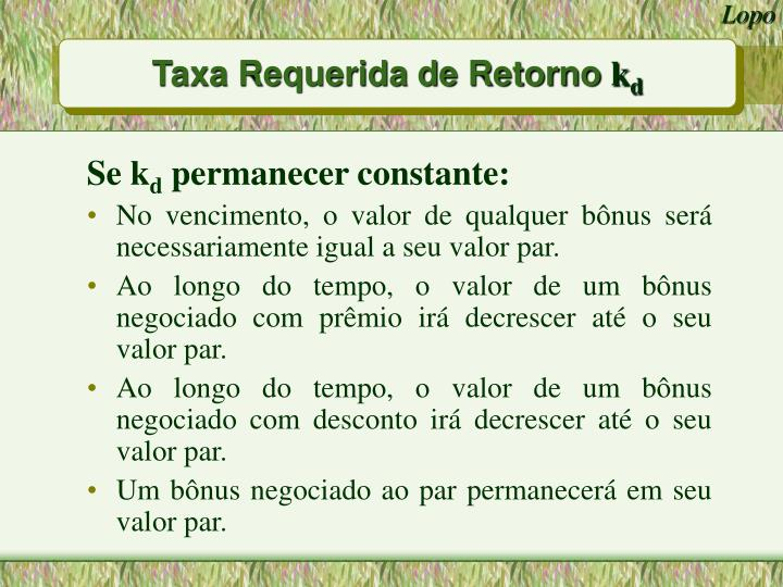 Taxa Requerida de Retorno
