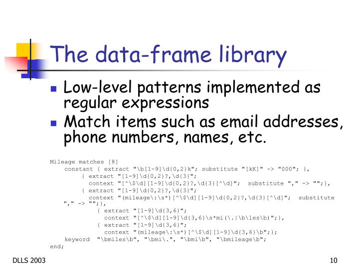 The data-frame library