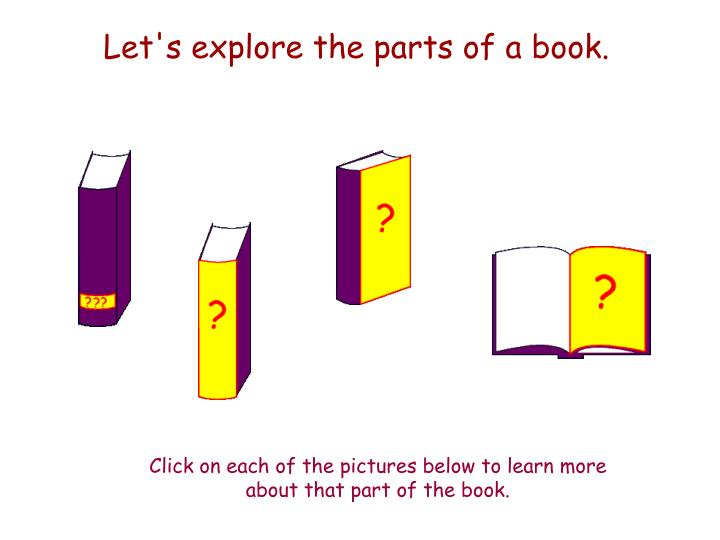 Let's explore the parts of a book.