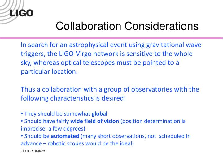 Collaboration Considerations