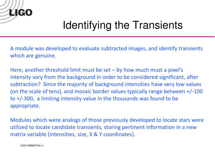 Identifying the Transients