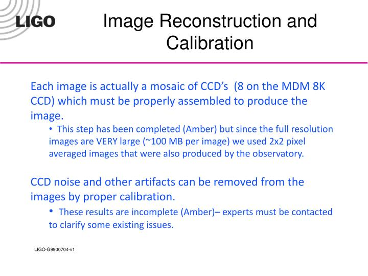 Image Reconstruction and Calibration