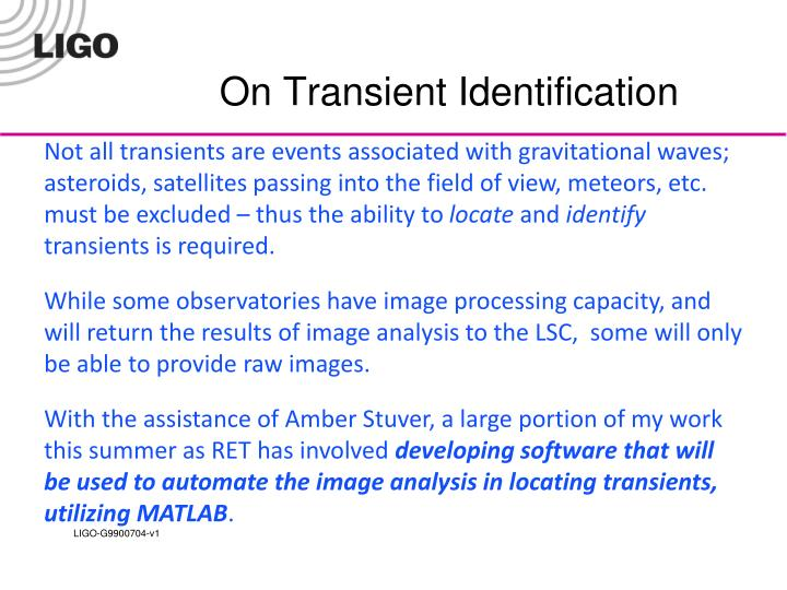 On Transient Identification