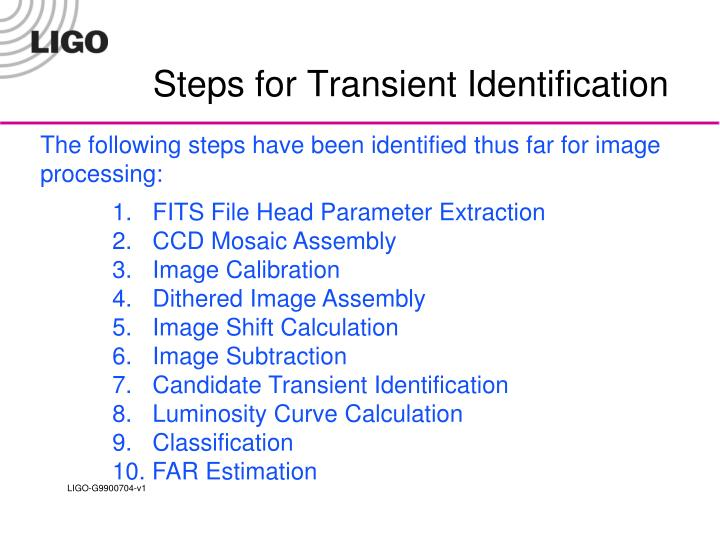 Steps for Transient Identification