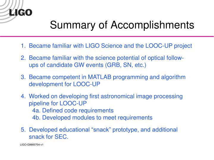 Summary of Accomplishments