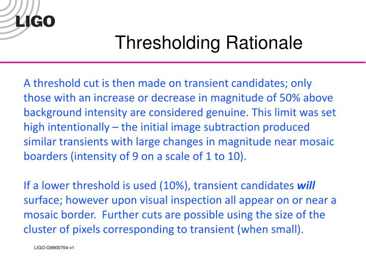Thresholding Rationale