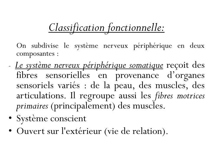 Classification fonctionnelle: