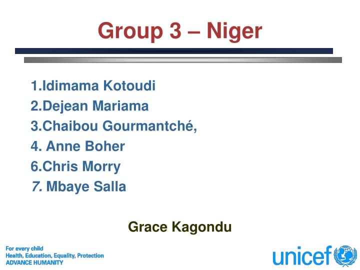 Group 3 – Niger