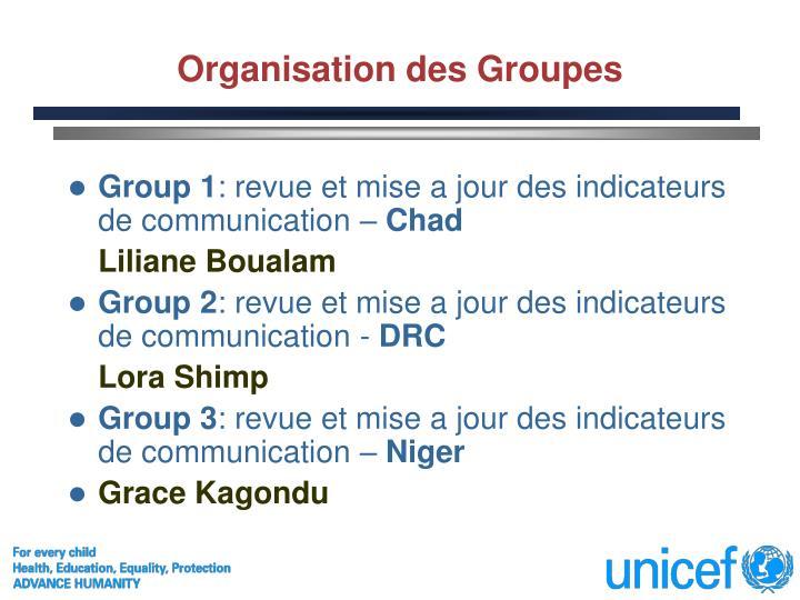 Organisation des Groupes