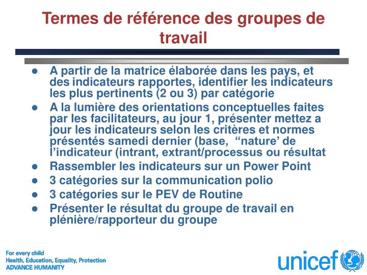Termes de référence des groupes de travail