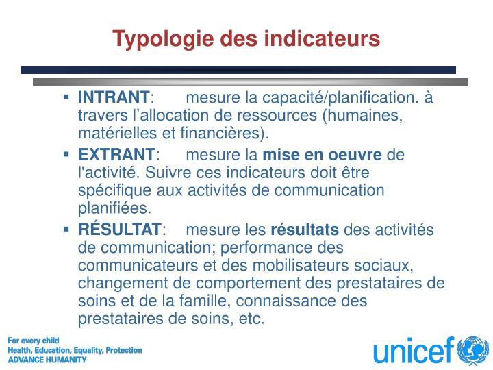 Typologie des indicateurs