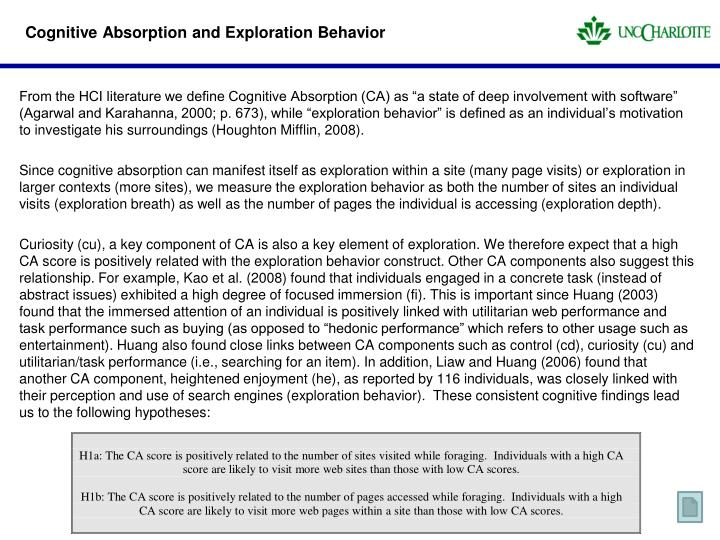 Cognitive Absorption and Exploration Behavior