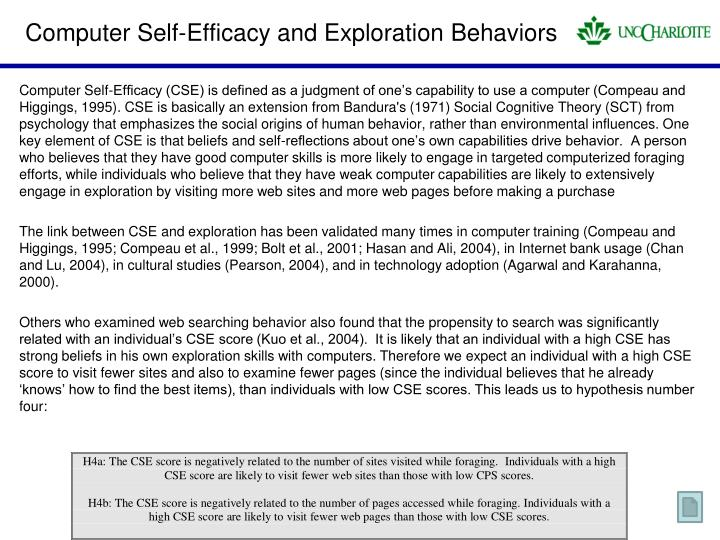 Computer Self-Efficacy and Exploration Behaviors