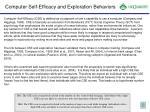 computer self efficacy and exploration behaviors