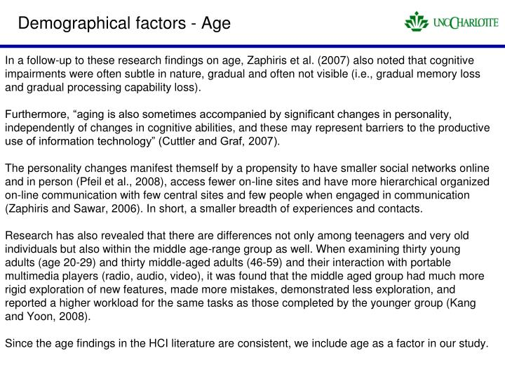 Demographical factors - Age