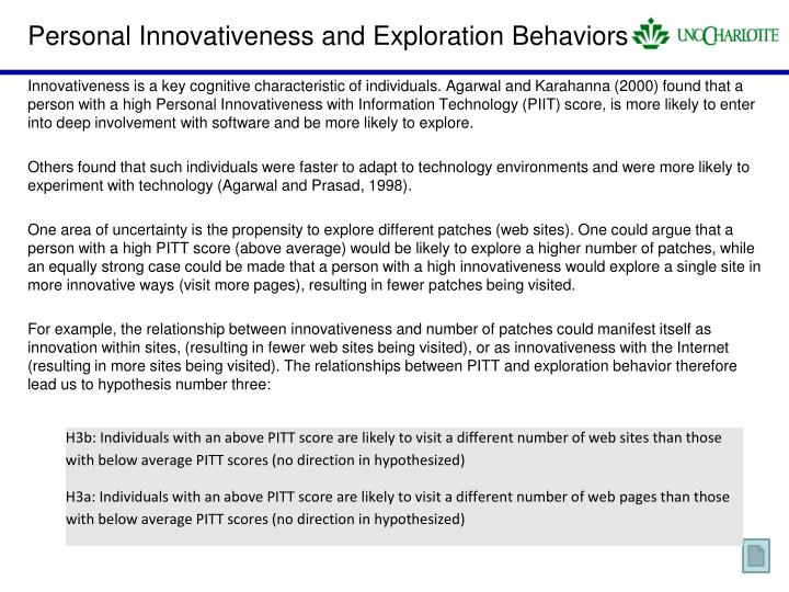 Personal Innovativeness and Exploration Behaviors