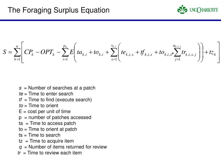 The Foraging Surplus Equation