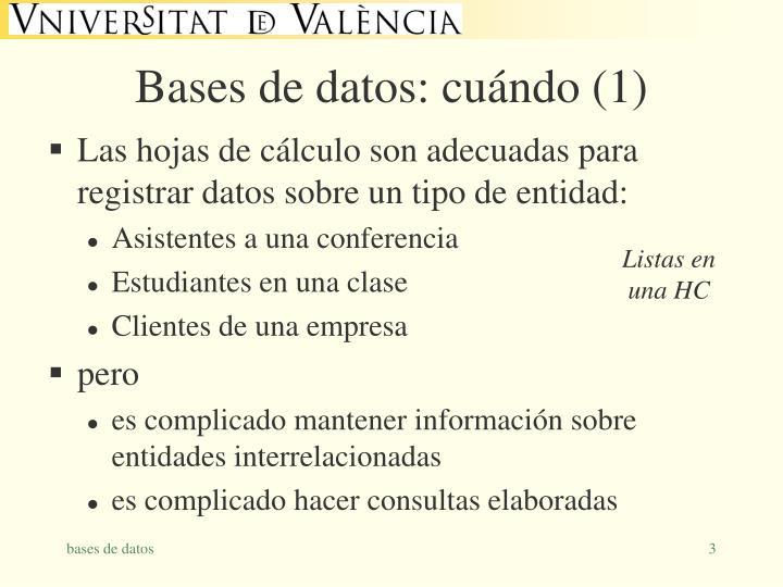 Bases de datos: cuándo (1)
