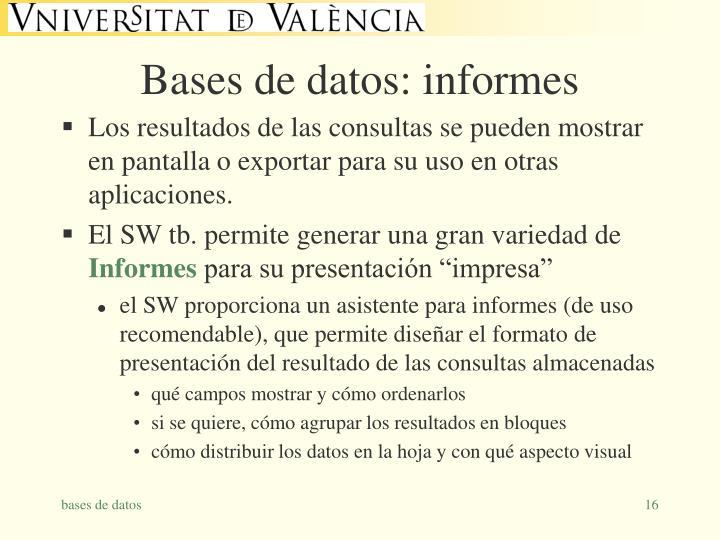 Bases de datos: informes