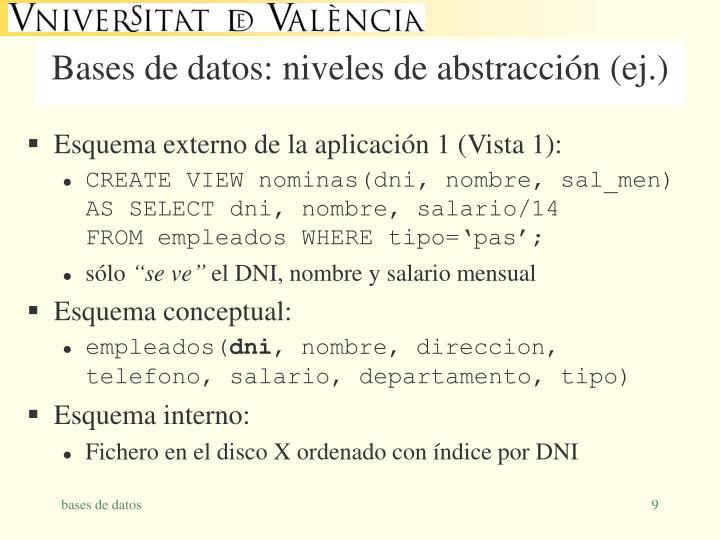 Bases de datos: niveles de abstracción (ej.)