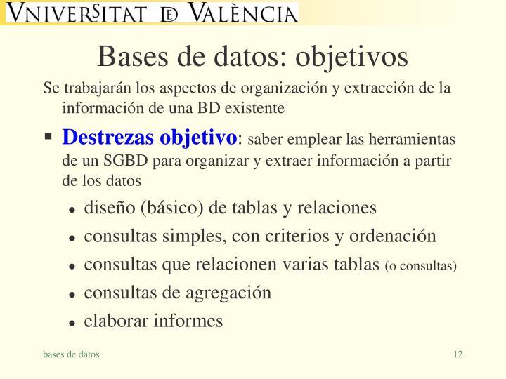 Bases de datos: objetivos