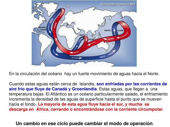 En la circulación del océano  hay un fuerte movimiento de aguas hacia el Norte.