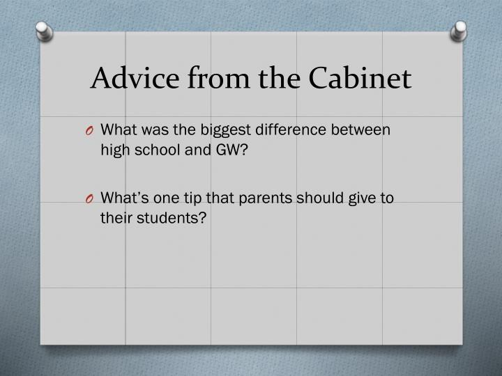 Advice from the cabinet