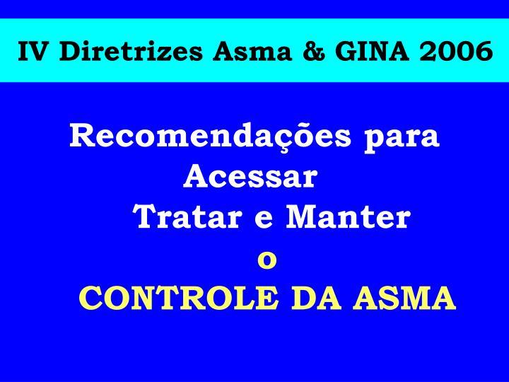 IV Diretrizes Asma & GINA 2006