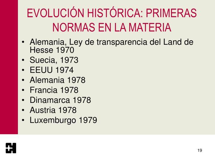 EVOLUCIÓN HISTÓRICA: PRIMERAS NORMAS EN LA MATERIA