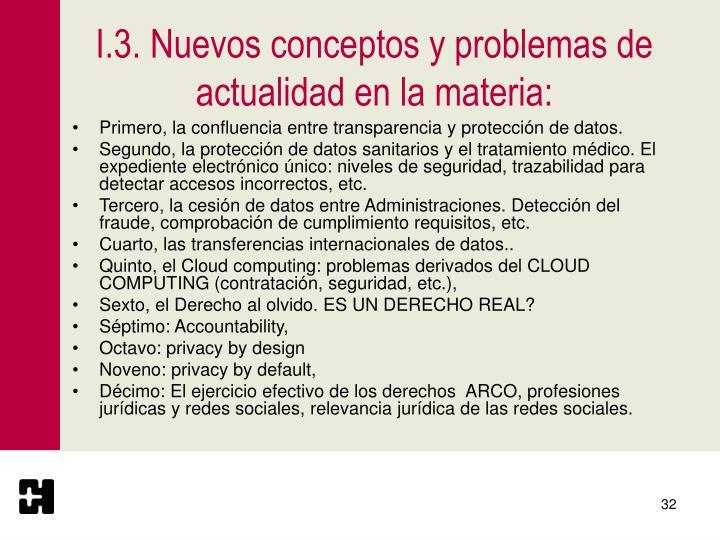 I.3. Nuevos conceptos y problemas de actualidad en la materia: