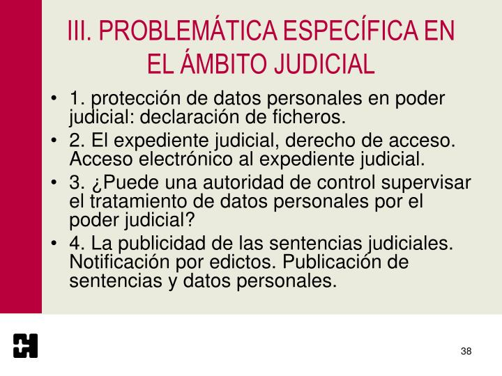 III. PROBLEMÁTICA ESPECÍFICA EN EL ÁMBITO JUDICIAL