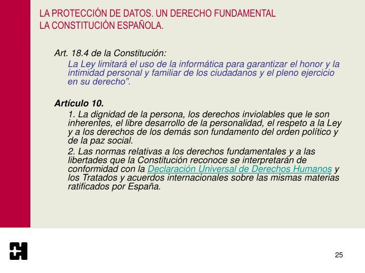 LA PROTECCIÓN DE DATOS. UN DERECHO FUNDAMENTAL