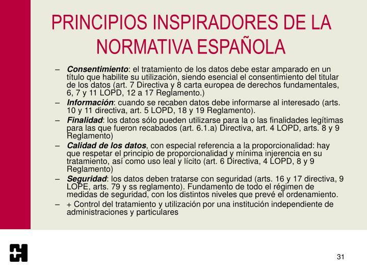 PRINCIPIOS INSPIRADORES DE LA NORMATIVA ESPAÑOLA