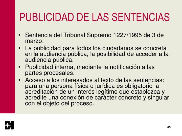 PUBLICIDAD DE LAS SENTENCIAS